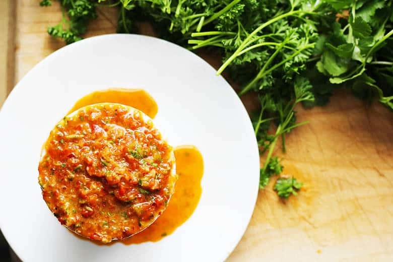 Chimichurri Rojo, a red chimichurri sauce with parsley, cilantro, red onion, garlic, roasted bell peppers and red wine vinegar. Serve on steaks, potatoes, veggies and eggs, YUM! | Fusion Craftiness.com