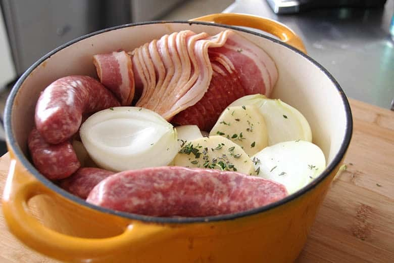 Traditional Irish Coddle in a pan ready to cook.
