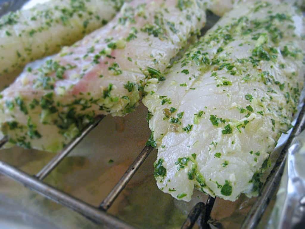 fish baking in the oven on a rack.
