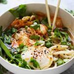 Kimchi Udon Noodle Soup, a quick and easy Korean meal. Udon noodles, kimchi, fried egg, spinach, sesame oil, fish sauce, chili oil, scallions, cilantro.