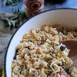 Savory Lamb Pilaf from the Balkans. Fresh sage, parsley, raisins and lamb come together to make this exotic rice dish from eastern Europe. Easy to make and super yum!