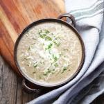 French Mushroom Soup, a creamy and earthy soup perfectly seasoned with shallots, sherry, garlic and parmesan. A quick and easy soup for everyday, try it! | FusionCraftiness.com