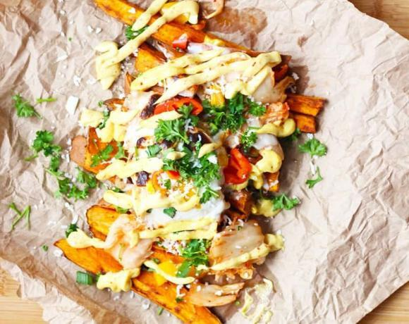 Kimchi Street Cart Fries with Curry Fry Sauce