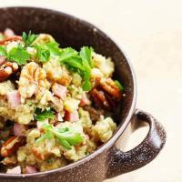 A simple, traditional cheater stuffing recipe with smoked oysters, ham & pecans
