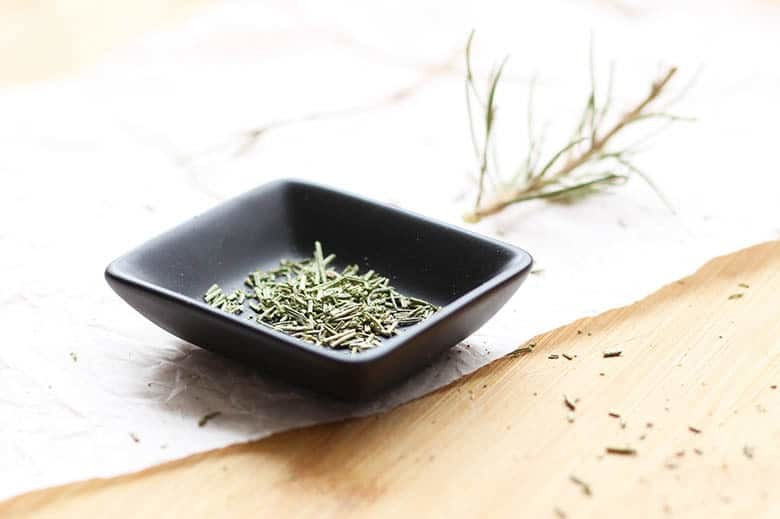 Rosemary in a small dish.