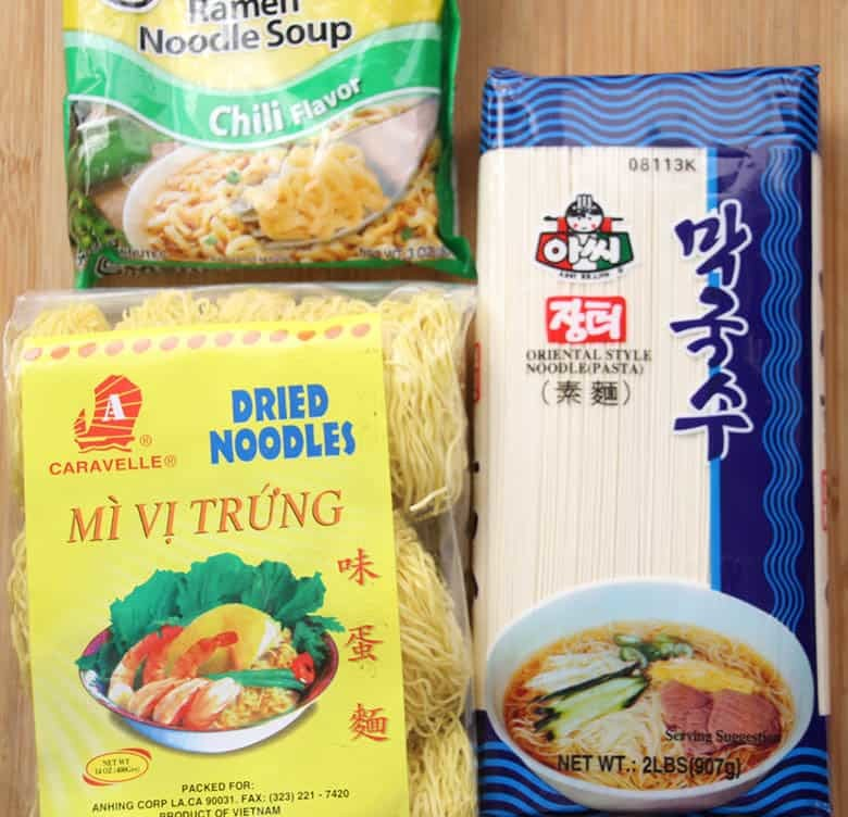 Noodles in packages.