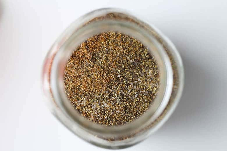 Dry rub ingredients in a mason jar.