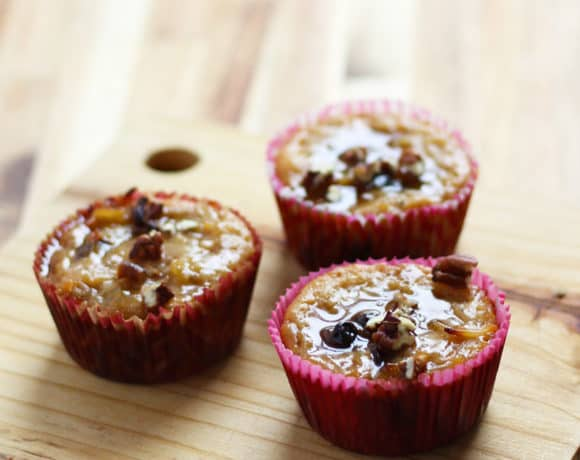 Sweet Noodle Kugel Muffins with Brown Sugar Syrup