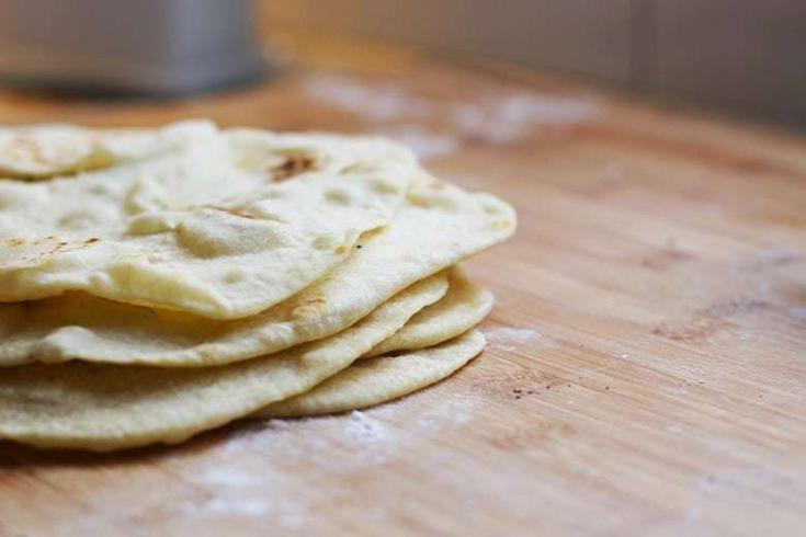 Make flour tortillas easily in a food processor. Add the dry ingredients, drizzle in the wet ingredients. It's that easy. Make tortillas for Honduran Baleadas, Mexican tacos or flatbread.