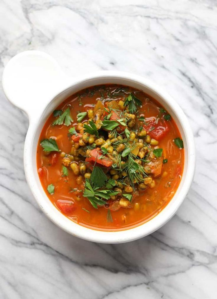 Mung Bean Soup is a super nutritious and easy soup to make. Just sauté and simmer. The combination of spices and fresh ingredients will make this vegetarian soup one of your favorites. This soup cooks up fast enough for a weeknight family meal. #mungbean #monggo #soup #vegetarian