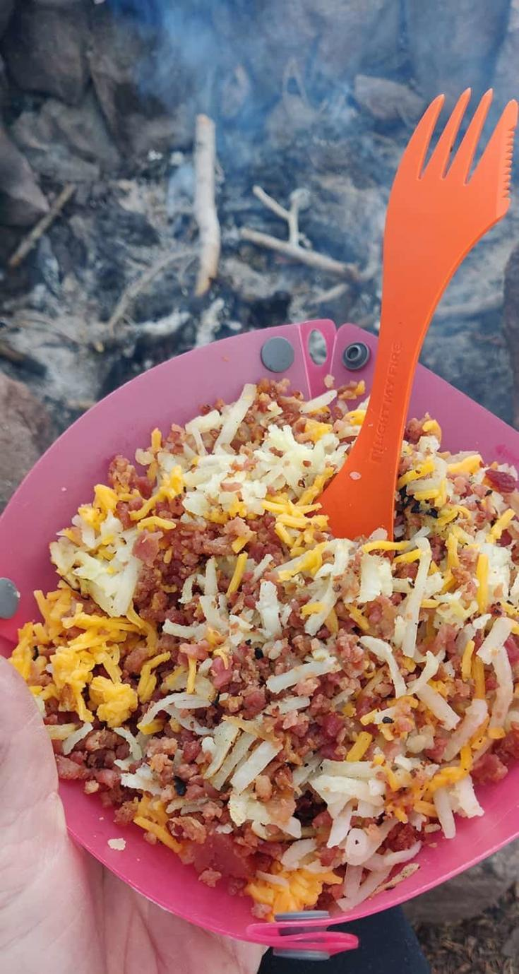 An easy backpacking breakfast made with dehydrated hash browns, shredded cheddar and bacon pieces.