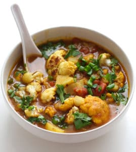 A bowl of Aloo Gobi soup.