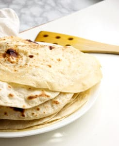 A stack of flour tortillas.