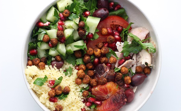 A Moroccan Salad in a white bowl.