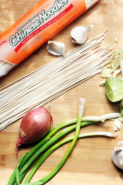 Typical ingredients for Chow Mein & Lo Mein