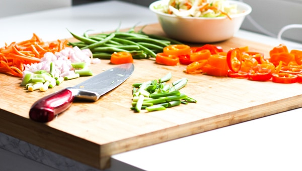 Veggies on a cutting board.
