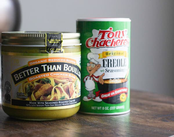 Bouillon and Tony Chachere's Creole Seasoning.