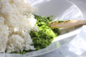 Rice with cilantro paste.