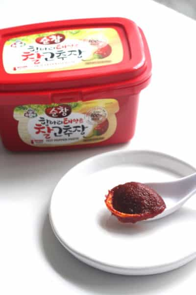 A spoonful of red Gochujang paste.