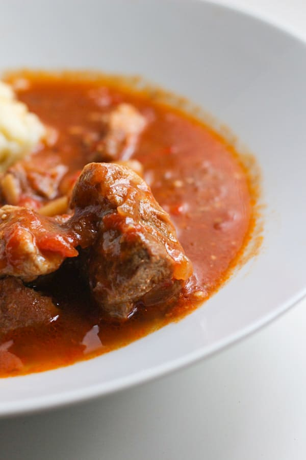 Hungarian Goulash in a white bowl.