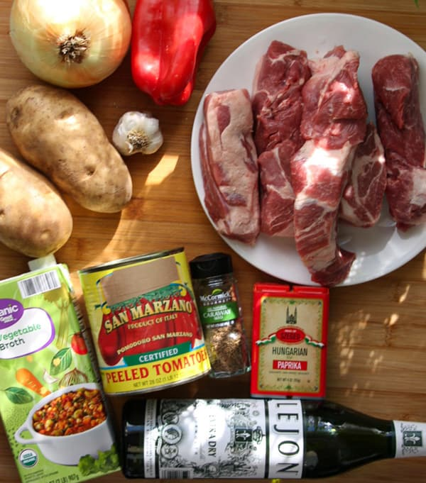 Ingredients for goulash.