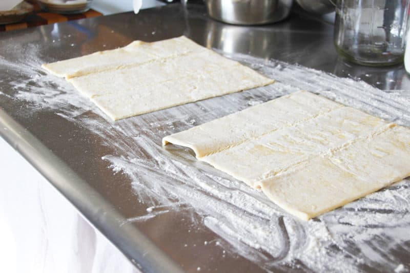 Puff pastry sheets side by side.